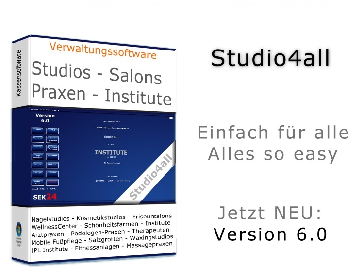 Box und Verpackung der Branchen-Software Studio4all Version 6 Studio4all6